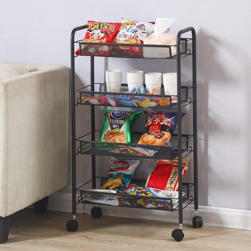 廚房手推車置物架可移動多層落地式帶輪菜籃架子家用浴室收納架