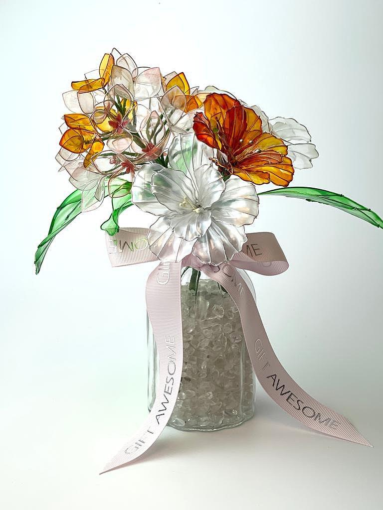 橙繡球及橙珍珠白康乃馨水晶樹脂花