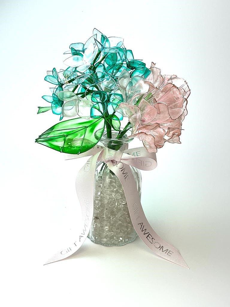 色繡球及粉紅玫瑰水晶樹脂花