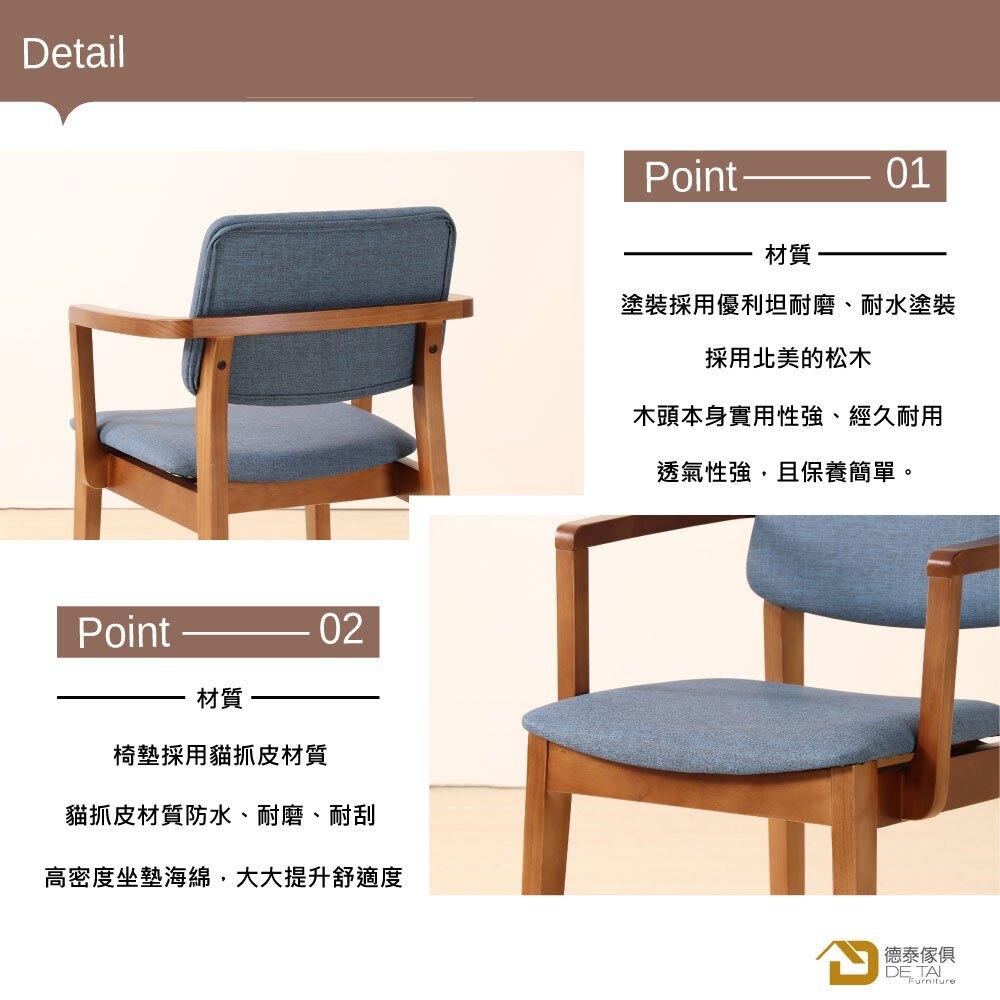 D&T 德泰傢俱 Novi北歐時尚北美松木扶手椅(胡桃色+深藍色貓抓皮)B001-C301