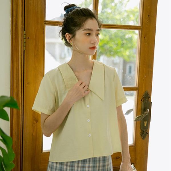 短袖襯衫~小眾設計感短款上衣女夏2021新款法式甜美小清新短袖襯衫S1F-02-B胖妞衣櫥