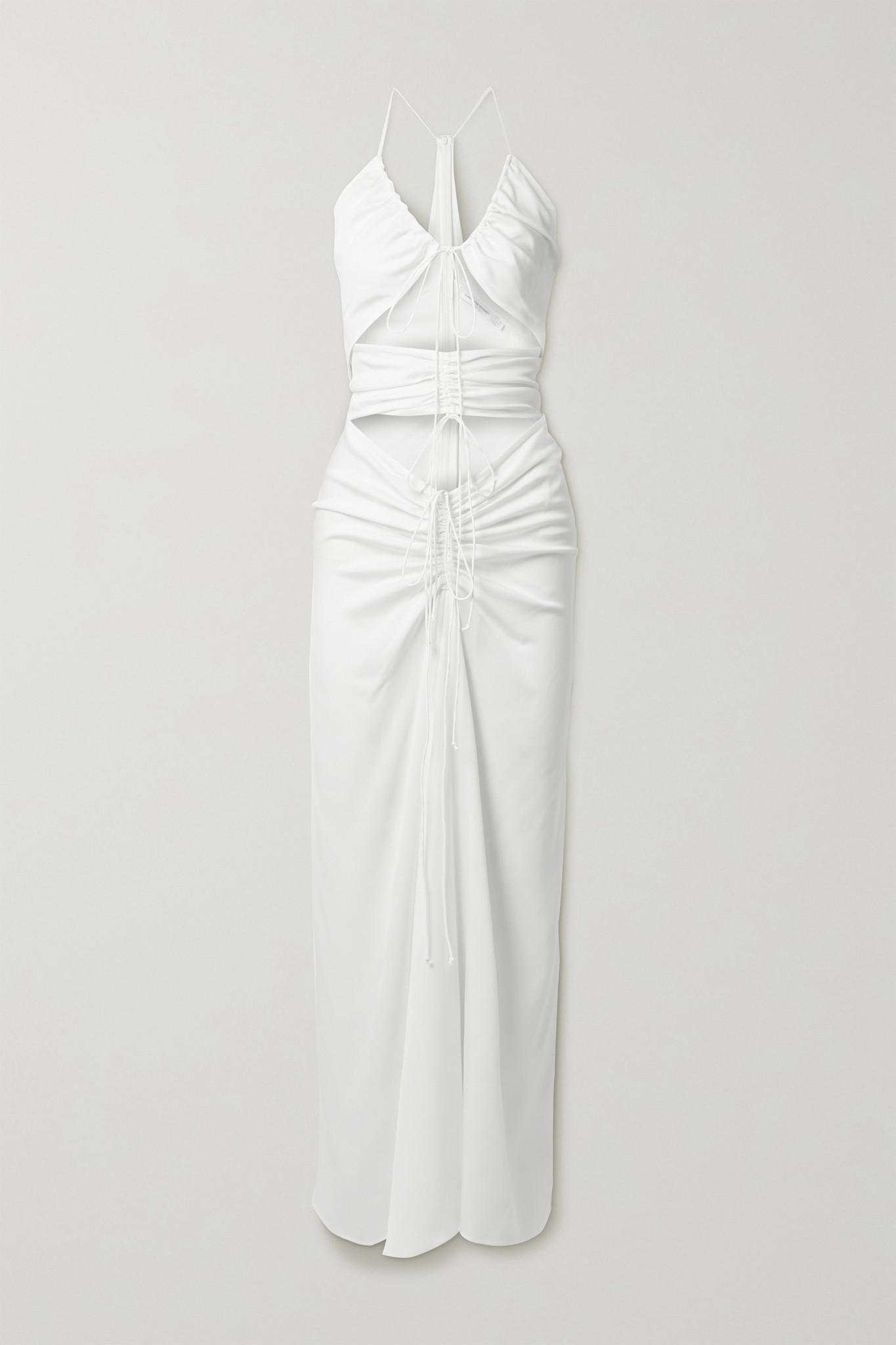 CHRISTOPHER ESBER - Ruched Cutout Stretch-jersey Maxi Dress - White - UK6