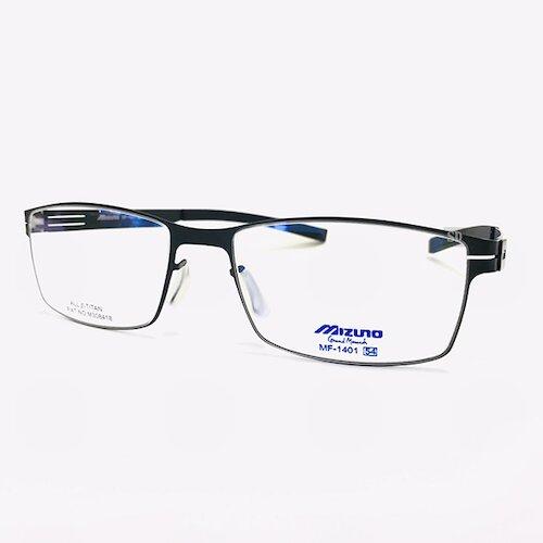 【MIZUNO】美津濃 鈦金屬 光學眼鏡鏡框 MF-1401 C51 薄鈦 無螺絲 長方形鏡框 黑 54mm