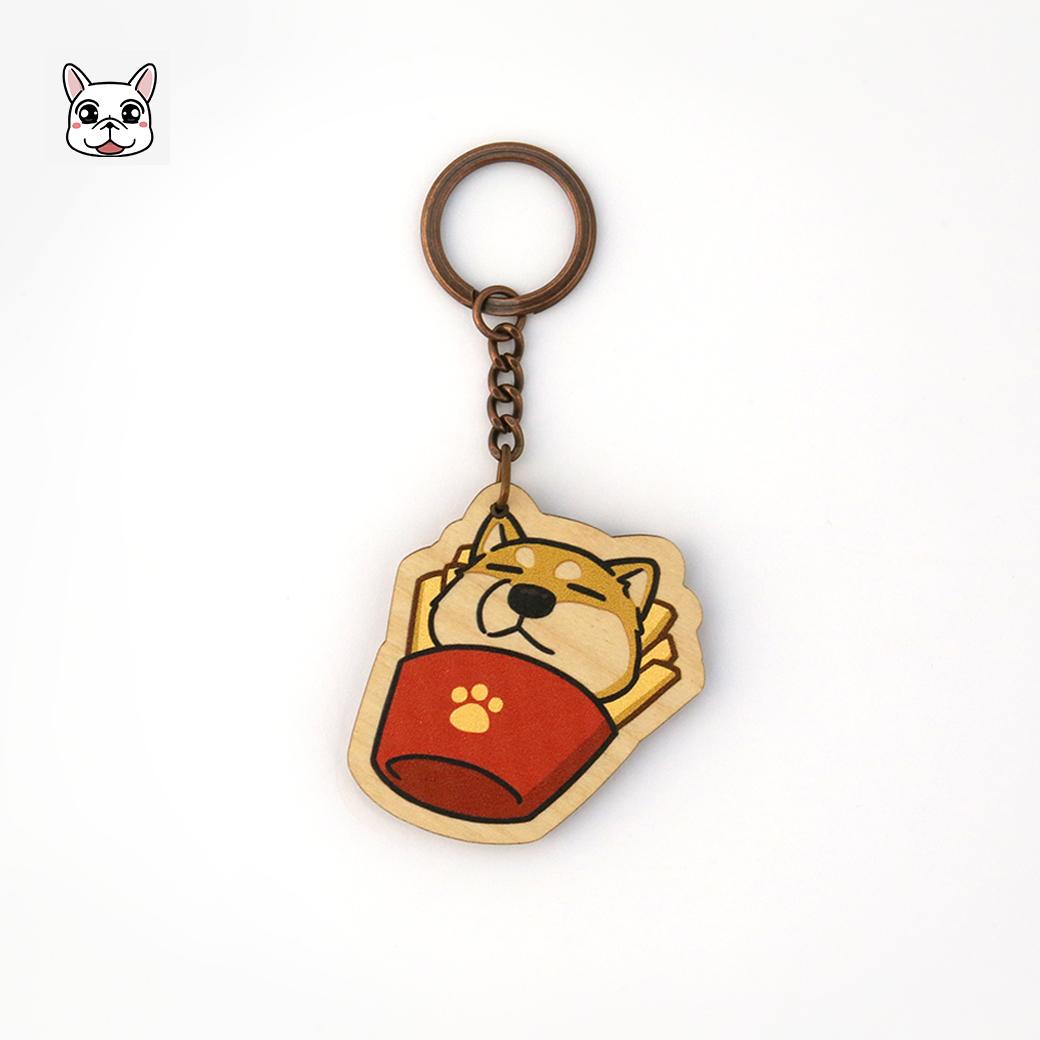 豆卡頻道_木頭鑰匙圈-飯丸炸薯條