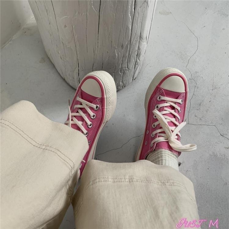 厚底鞋旺仔是條狗 微厚底帆布鞋女2021春夏新款粉色韓版百搭chic學生潮 【全館免運】