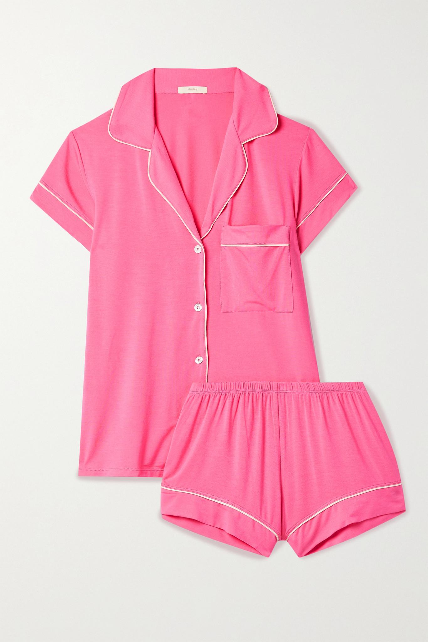 EBERJEY - Gisele Piped Stretch-modal Pajama Set - Pink - x large