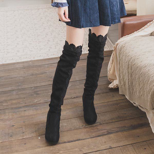 麂皮鉤花內增高平底高筒過膝長靴