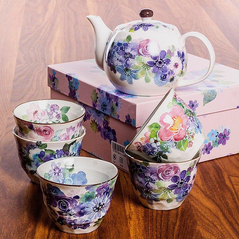 現貨美濃燒日本進口和藍陶瓷花卉繁花櫻花茶壺茶杯套裝新婚禮物