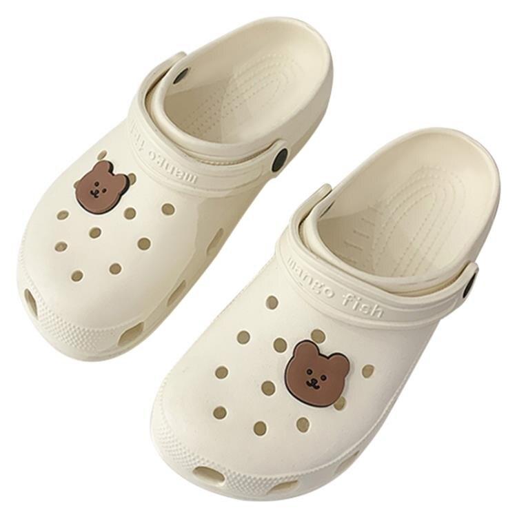 可愛涼拖鞋女夏天室內居家居情侶浴室防滑家用熊頭洞洞鞋女外穿夏 果果輕時尚