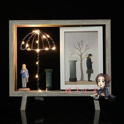 【八折】旋轉相框 創意情侶帶簡約北歐相框擺台 6寸桌面擺件木質INS旋轉雙面相架