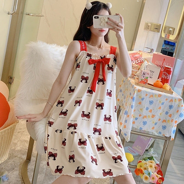 年睡衣女生夏季牛奶絲吊帶睡裙甜美顯瘦1F057胖妹大碼女裝