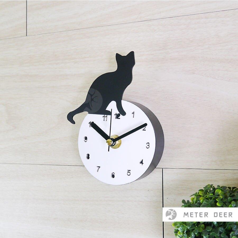 可愛貓咪 喵星人 動物時鐘 咖啡豆飲料杯 鏡面黑色造型 磁鐵冰箱鐘 迷你廚房時鐘 靜音吸黏掛鐘 咖啡廳 時鐘