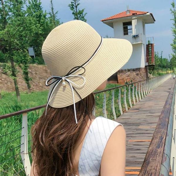 沙灘帽大帽檐 帽子女防紫外線大帽檐網紅款全臉草帽遮陽防曬沙灘海邊太陽涼帽夏 歐歐