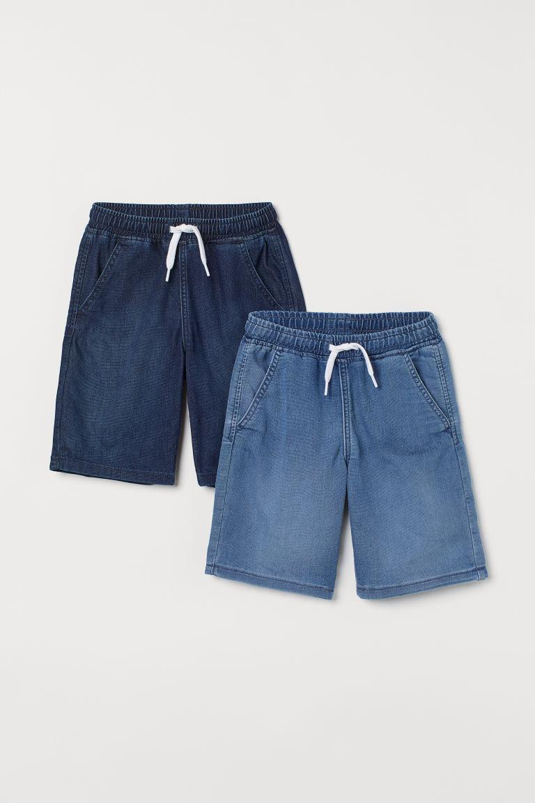 H & M - 2件入丹寧鬆緊式短褲 - 藍色
