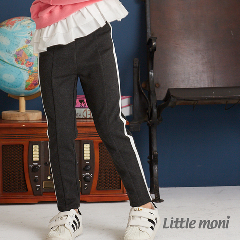 Little moni 側邊壓條彈性合身褲(鐵灰)
