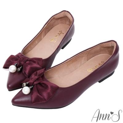 Ann'S紗質緞帶蝴蝶結珍珠扣全真皮尖頭平底包鞋-酒紅
