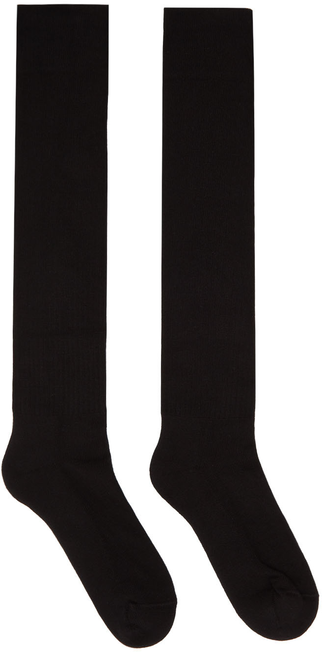 Rick Owens 黑色徽标高筒袜