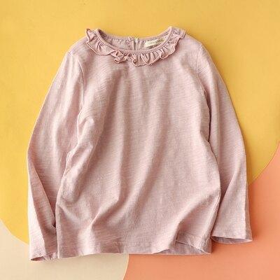樂天優選 兒童竹節棉上衣 透氣竹節棉 小花邊長袖T恤 女童春夏可愛甜美寬鬆上衣