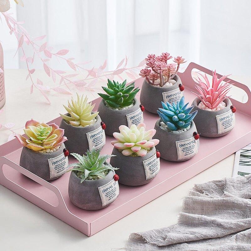 ins仿真多肉植物盆栽辦公室桌面裝飾創意迷你假花小綠植可愛擺件SGBS3 愛尚優品