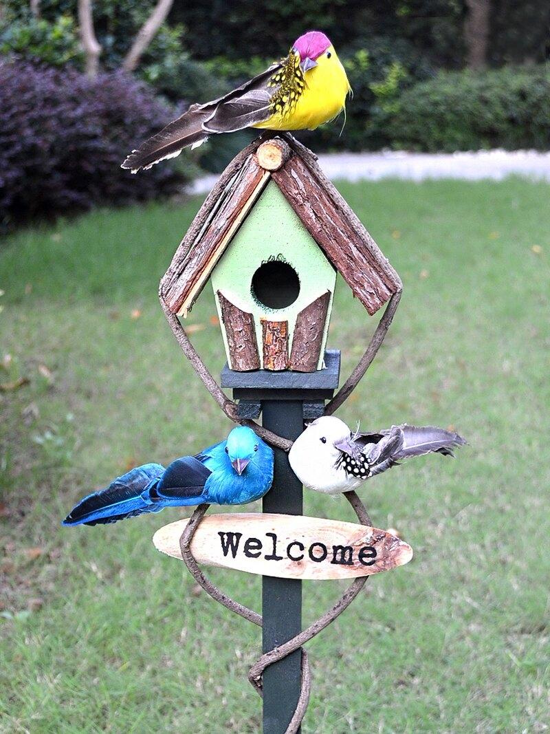 戶外庭院創意花園插牌地插別墅wlcome歡迎牌鳥屋藤木草坪裝飾擺件