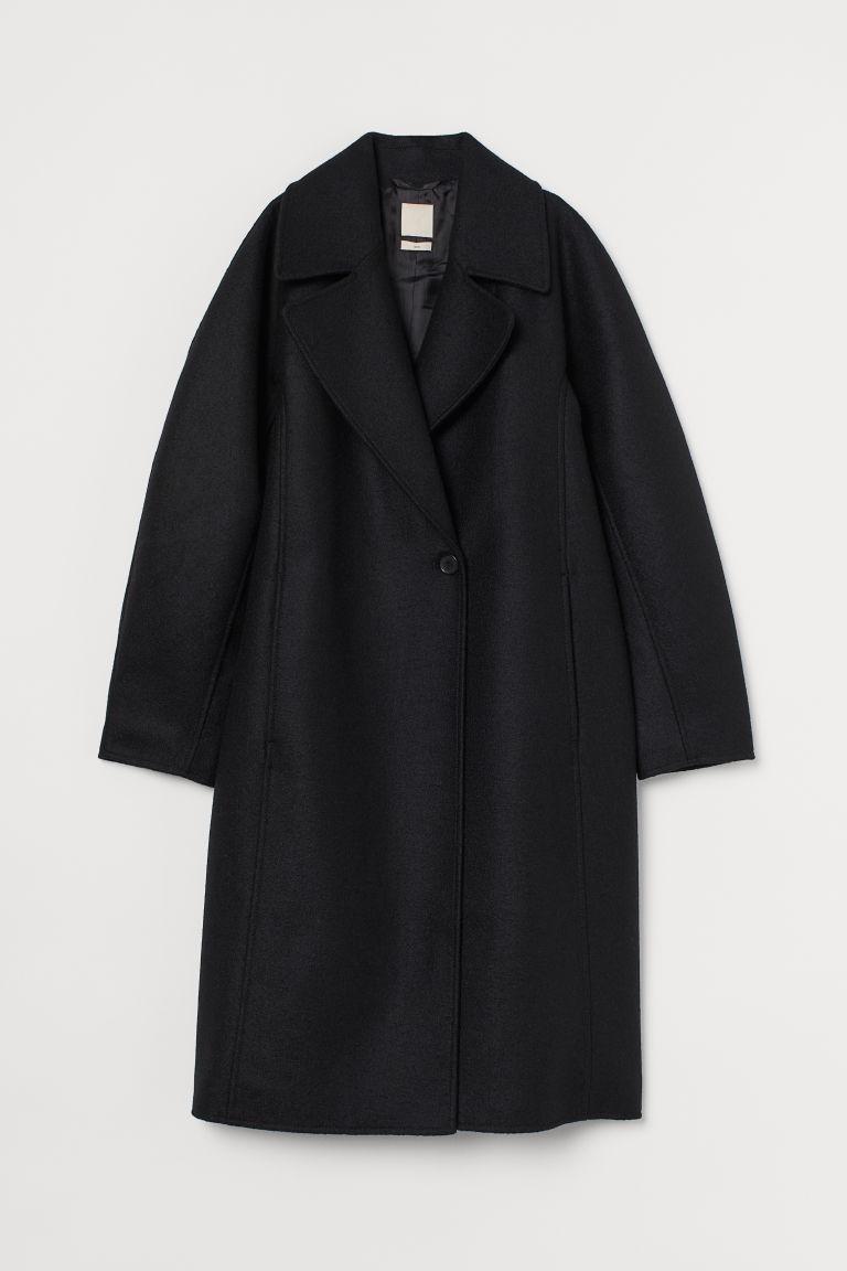 H & M - 羊毛大衣 - 黑色