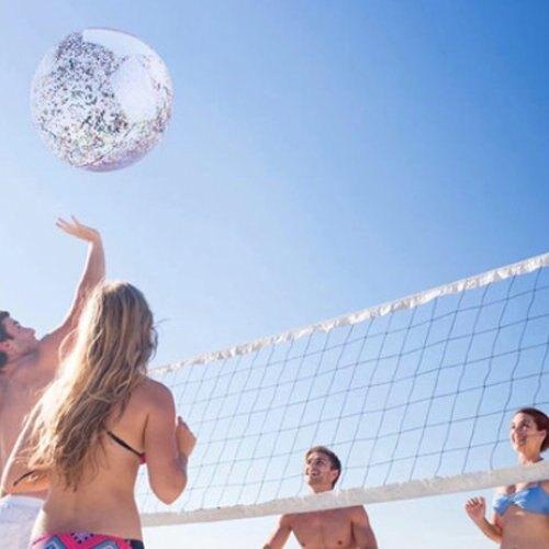 夏季彩色亮片充氣式沙灘球 戲水玩具