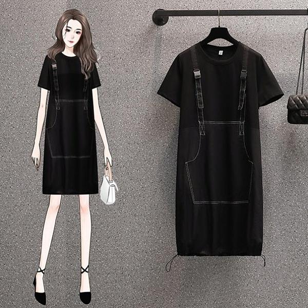 長版衣洋裝連身裙L-4XL中大尺碼遮肉顯瘦減齡中長款連身裙R06B.9719胖丫