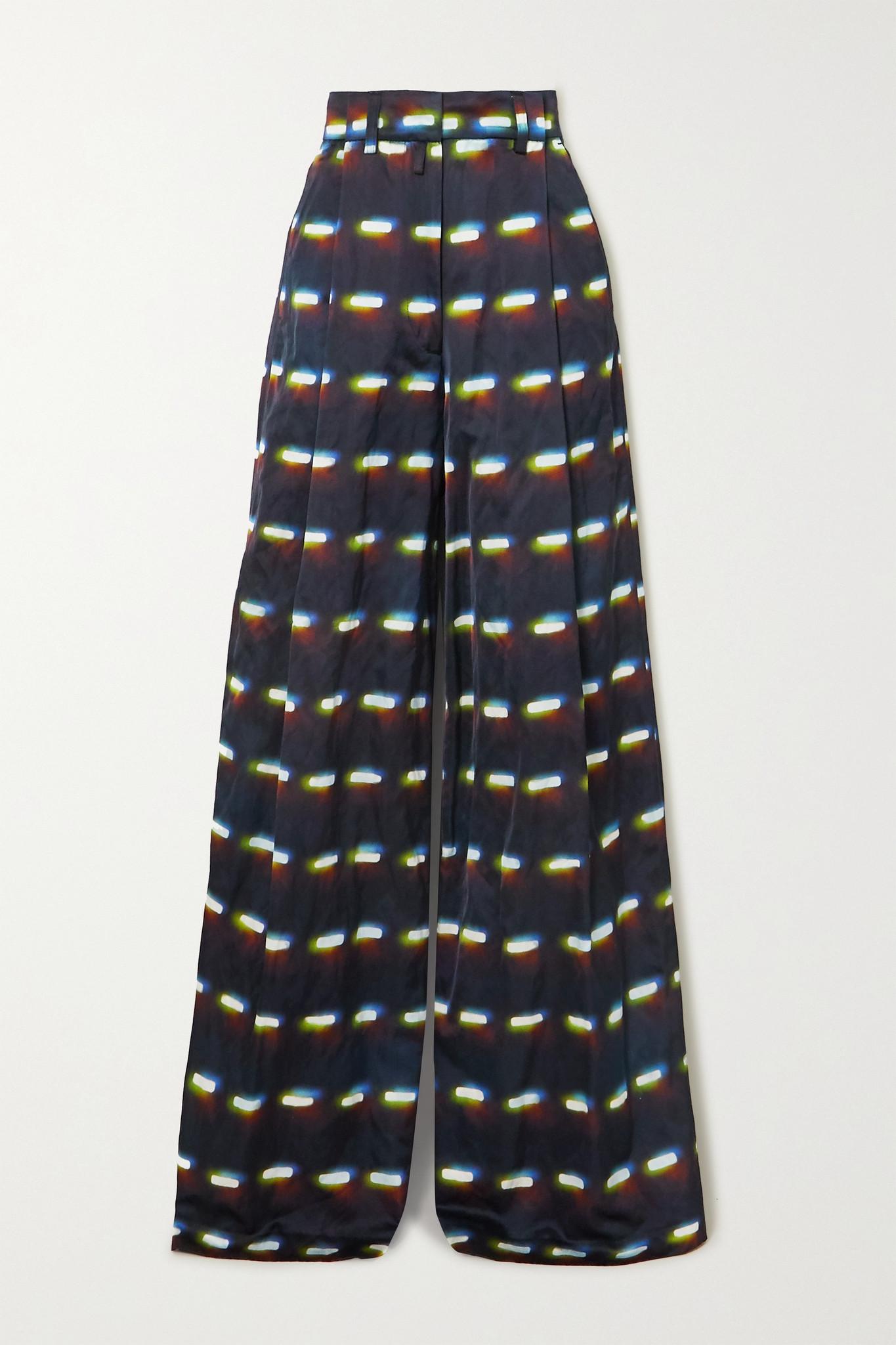 DRIES VAN NOTEN - Podium Printed Woven Wide-leg Pants - Black - FR40