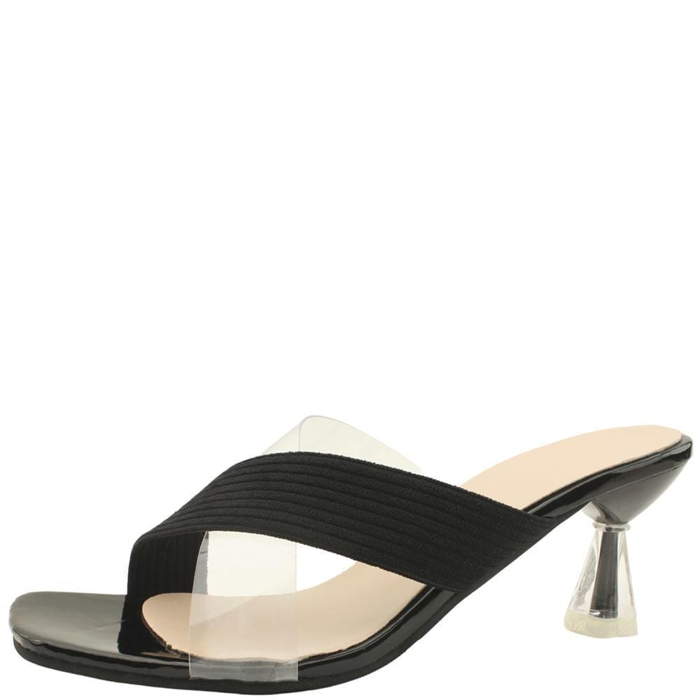 韓國空運 - Transparent Combi Strap Mule Middle Heel Slippers Black 涼鞋