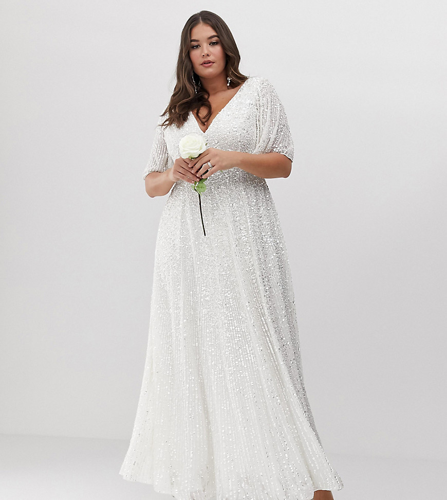 ASOS EDITION Curve flutter sleeve sequin maxi wedding dress-White
