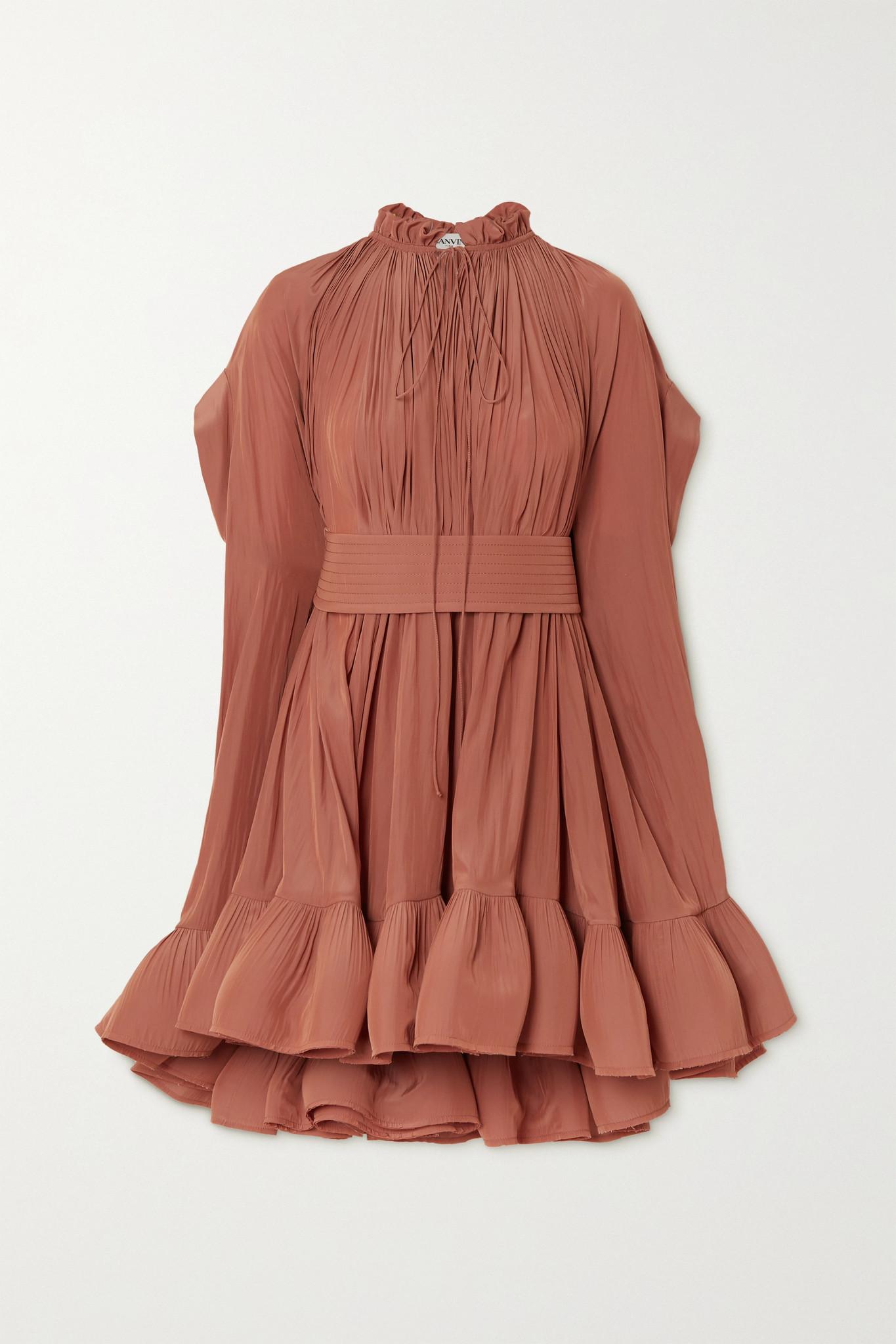 LANVIN - Cape-effect Belted Crepe Mini Dress - Pink - FR40