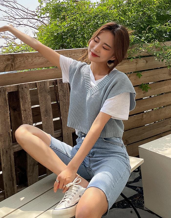 韓國空運 - V-Neck Summer vest 針織外套