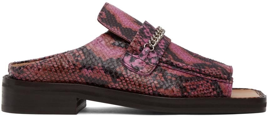 Martine Rose 粉色蛇纹露趾乐福鞋