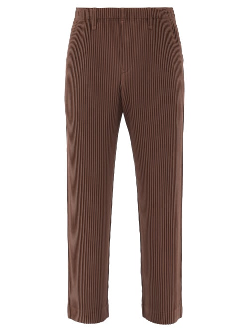 Homme Plissé Issey Miyake - Technical-pleated Trousers - Mens - Brown