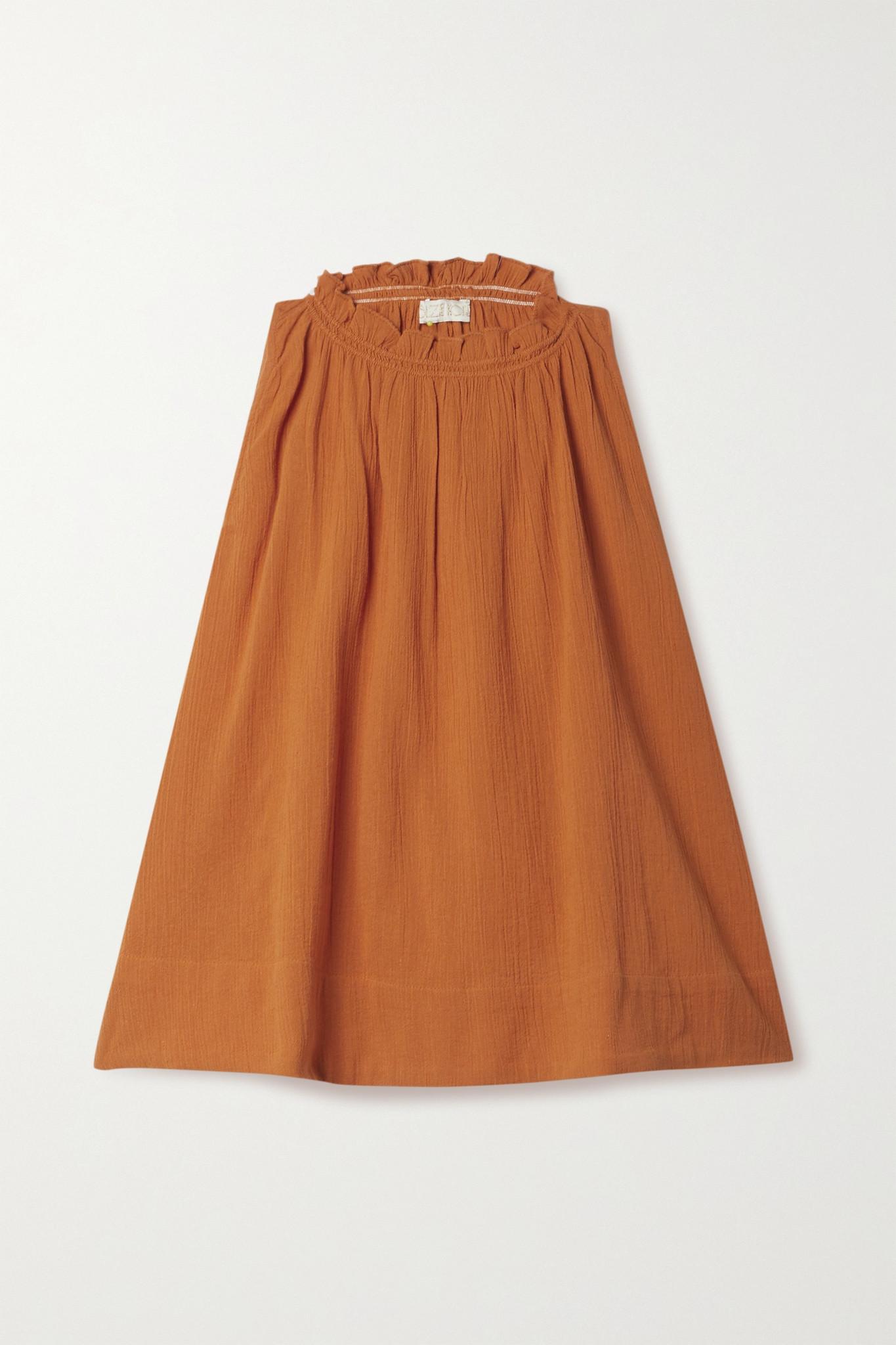 SUZIE KONDI - Ruffled Cotton-gauze Top - Orange - x small