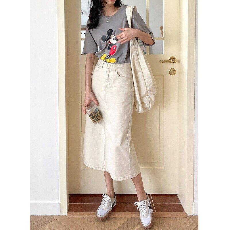 2021春季新款韓版氣質通勤米白色牛仔半身裙休閒中長款半裙