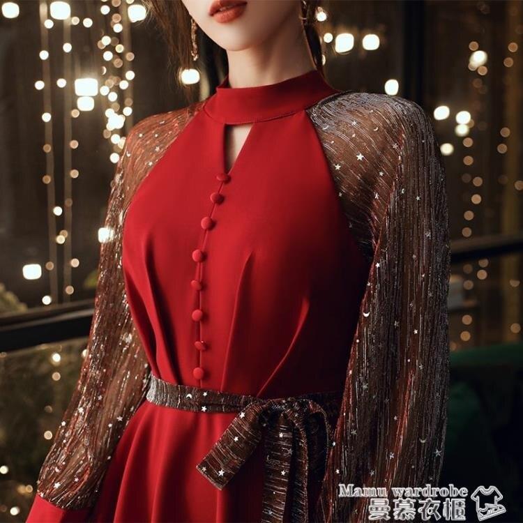 小禮服 紅色禮服裙女宴會氣質結婚回門連身裙小禮服森系輕奢平時可穿秋冬 【全館免運】