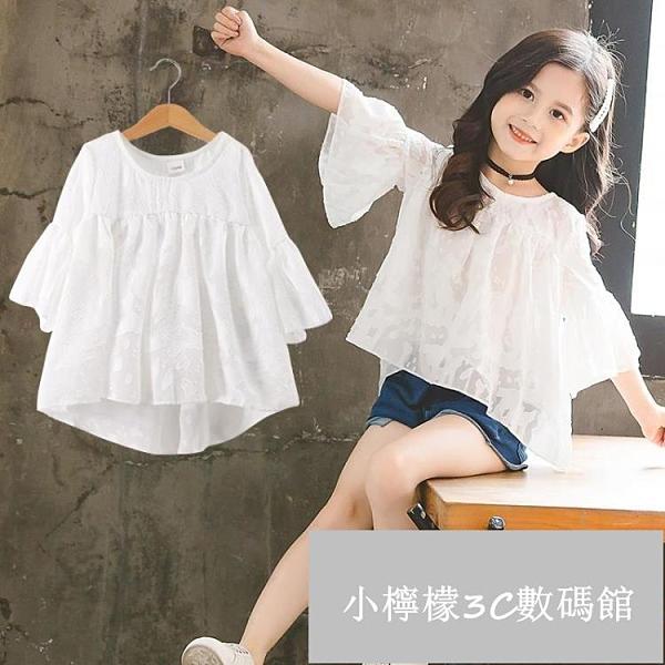 女童短袖t恤夏季韓版寬鬆兒童中大童雪紡上衣【小檸檬3C數碼館】