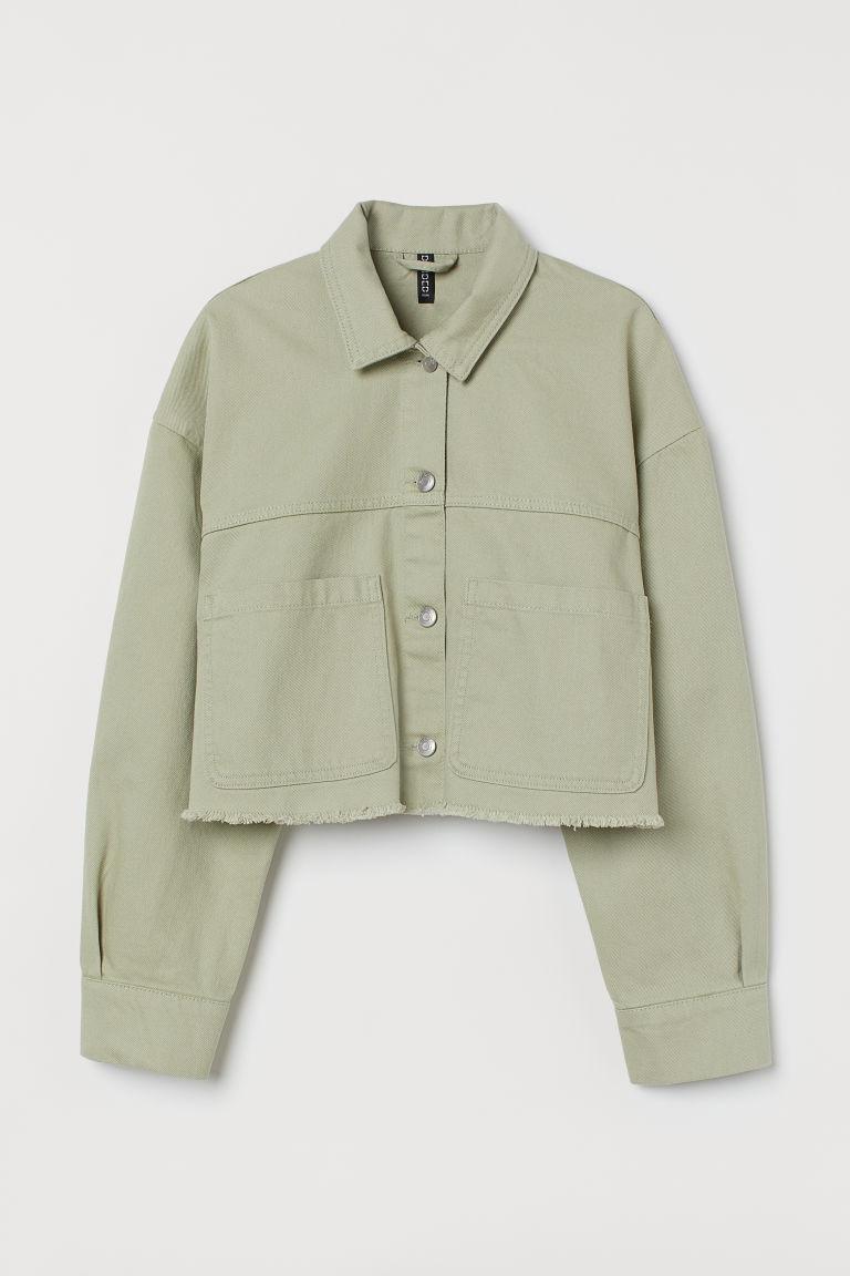 H & M - 短版斜紋外套 - 綠色