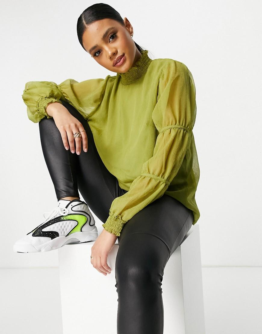 Vila high neck blouse with shirred ballon sleeve in green