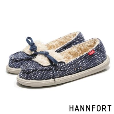 HANNFORT COZY毛呢珊瑚絨樂福鞋 女 深海藍