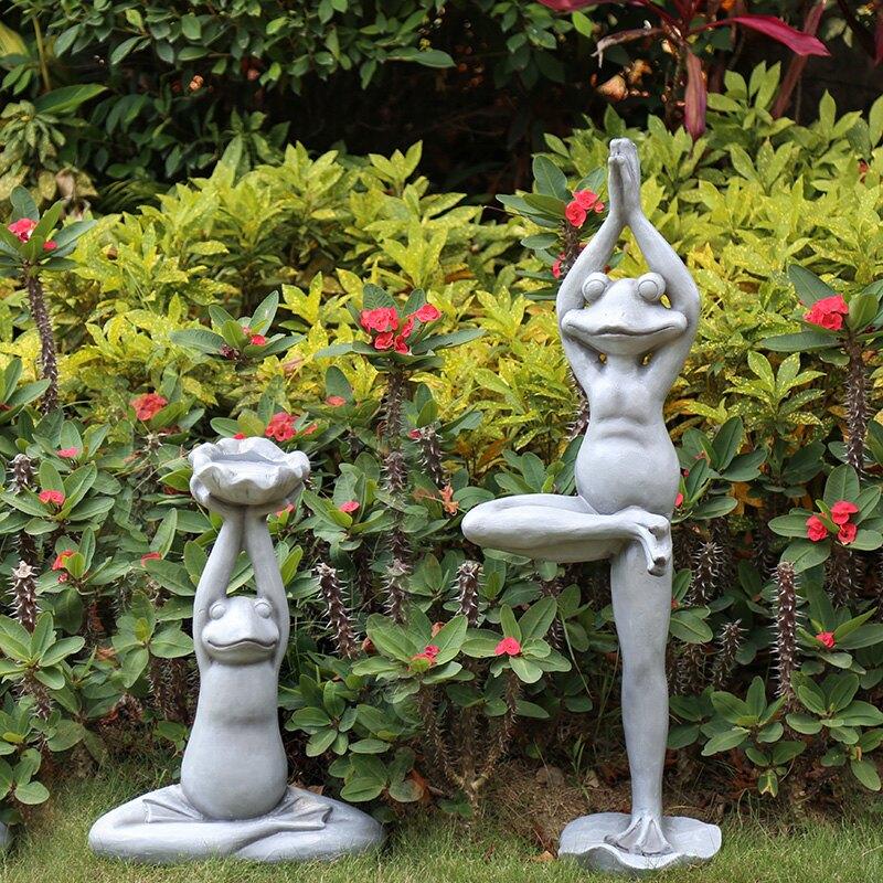 樹脂卡通瑜伽青蛙雕塑擺件創意動物戶外庭院 別墅 花園裝飾擺件