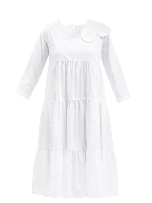 Comme Des Garçons Girl - Cut-out Panel Cotton-poplin Midi Dress - Womens - White
