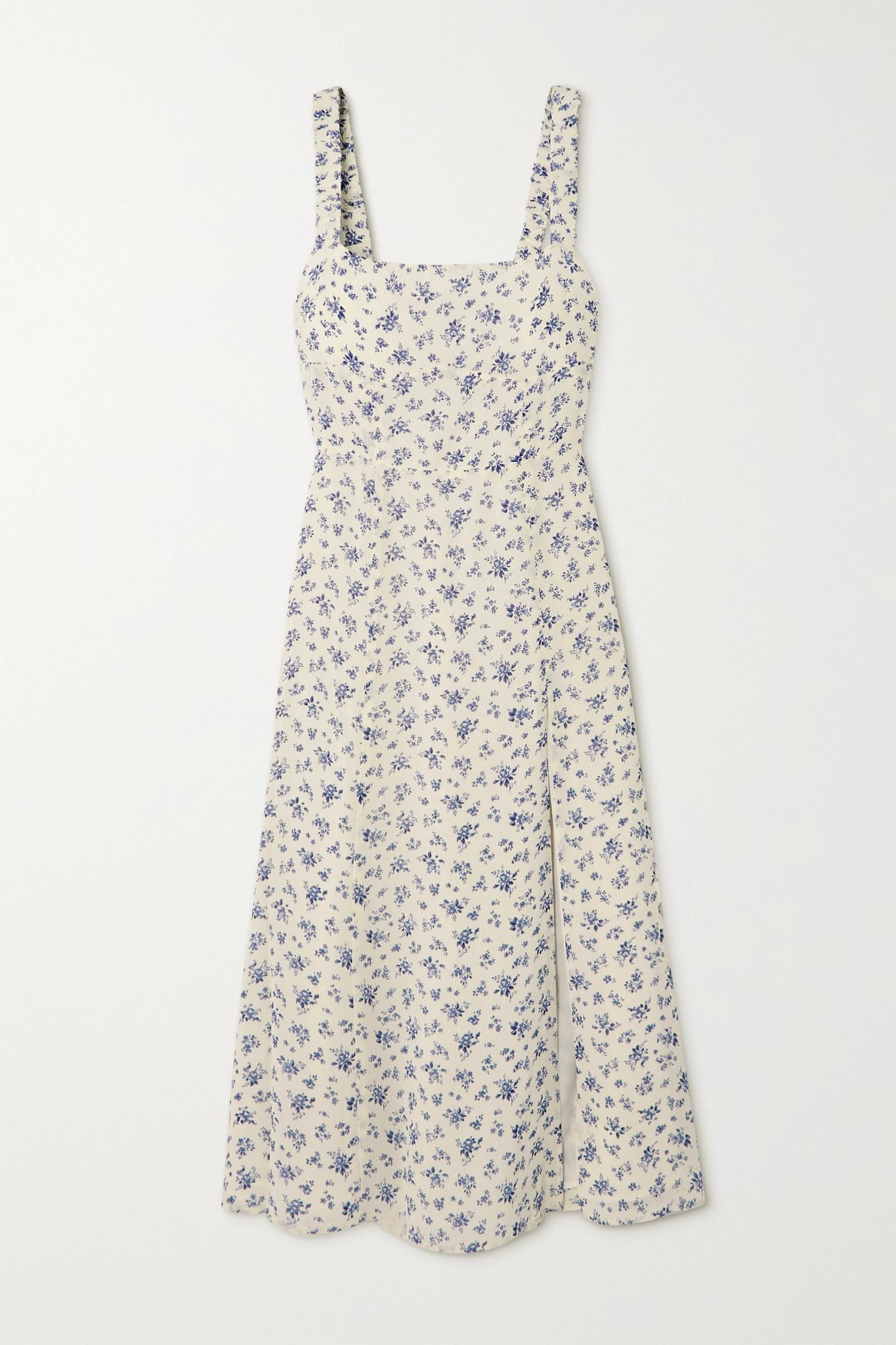 REFORMATION - + Net Sustain Dominique Floral-print Georgette Midi Dress - White - US6