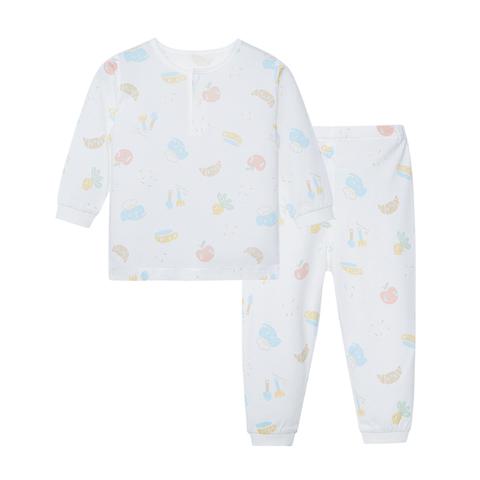 【Cloudy雲柔系列】麗嬰房 小象廚房兩粒扣套裝(長袖+長褲組)-白色 (76cm~130cm)