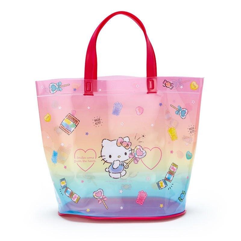 凱蒂貓kitty 糖果 防水PVC 桶型手提袋 GD32 海灘透明防水提袋 防水收納袋 游泳防水袋 手提禮品袋 泳具袋 真愛日本