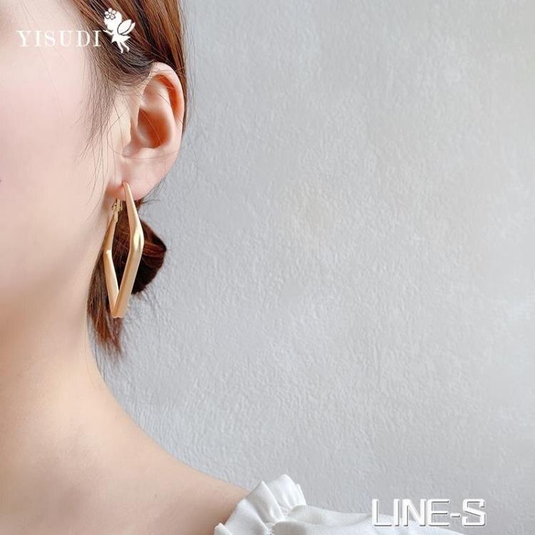 方形耳環2021新款潮氣質歐美風耳飾復古港風夸張個性設計感耳釘女 摩可美家