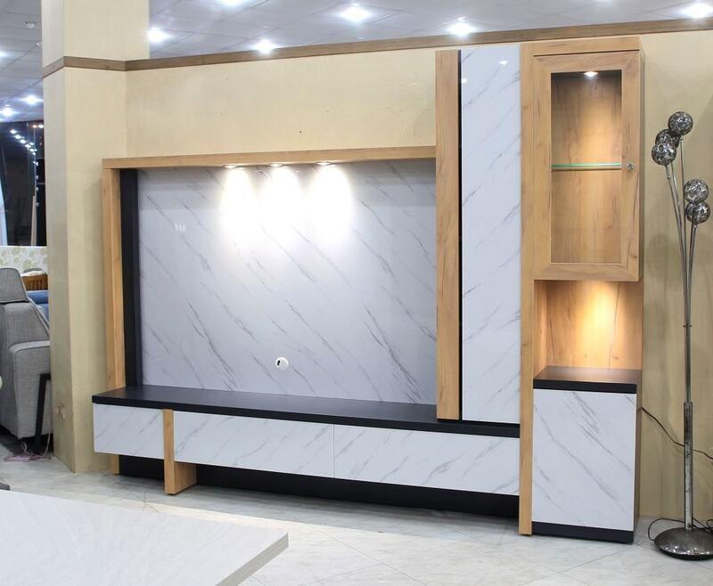 歐風別館瑞典8.5尺仿石紋背板電視櫃基隆至台中免運費