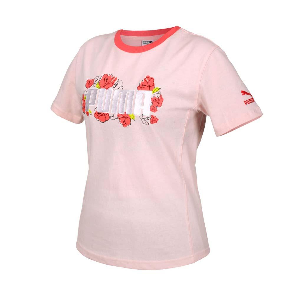 PUMA 女FLORAL短袖T恤-亞規 純棉 休閒 上衣 慢跑 粉紅綠白