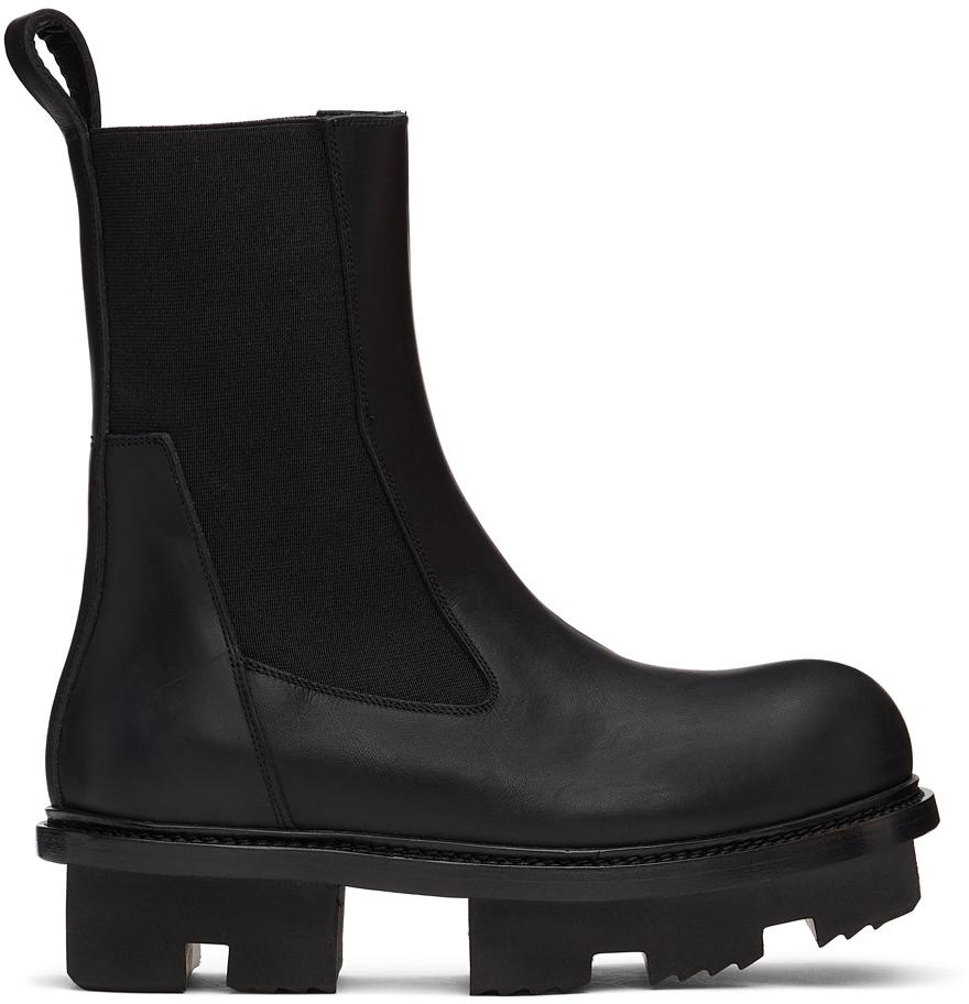 Rick Owens 黑色 Beatle Megatooth 切尔西靴